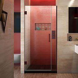DreamLine DreamLine Unidoor Plus 94 cm x 183 cm Porte de douche Articulée Sans cadre, fini Bronze Huilé