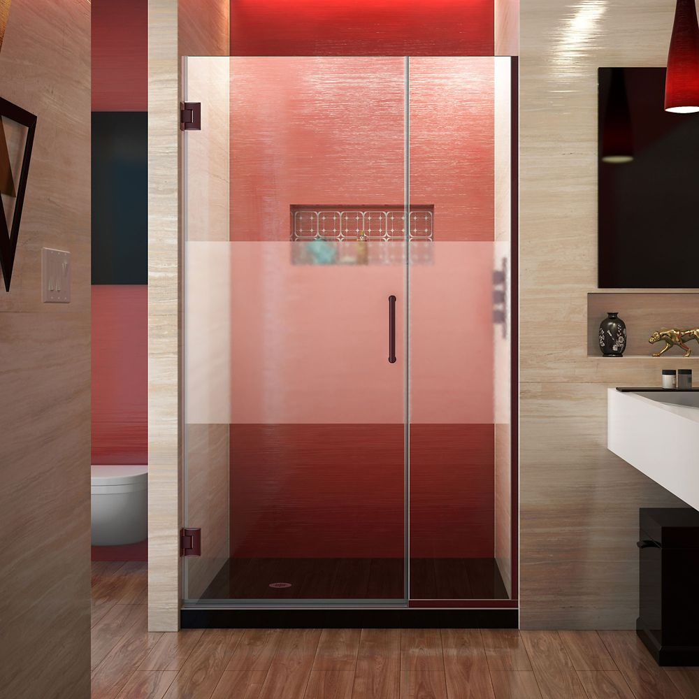 DreamLine Unidoor Plus 37-1/2 to 38 x 72 Semi-Frameless Pivot Shower Door with Frosted Glass in Oil Rubbed Bronze with Handle