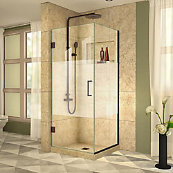 DreamLine Unidoor Plus 30-3/8-inch x 31-1/2-inch x 72-inch Hinged Shower Enclosure with Half Frosted Glass in Oil Rubbed Bronze