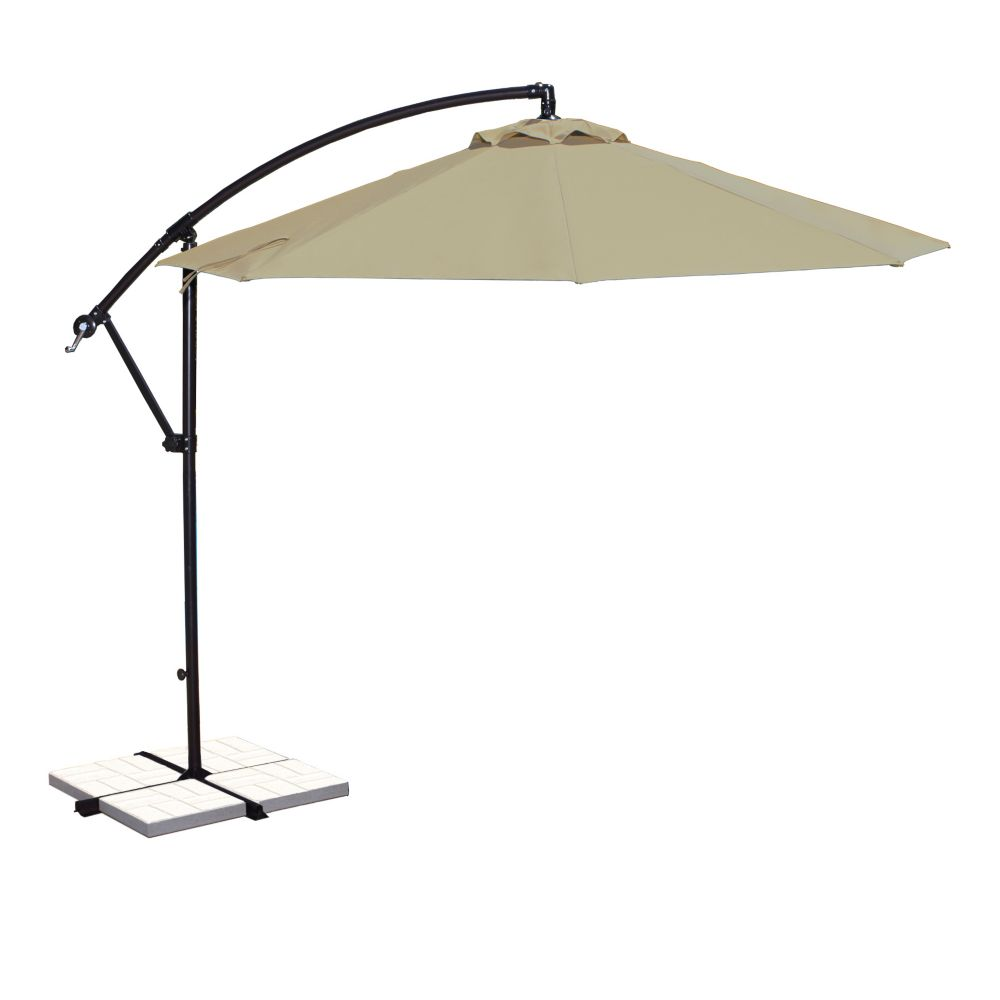 Santiago 10-ft Octagonal Cantilever Umbrella in Beige Sunbrella Acrylic