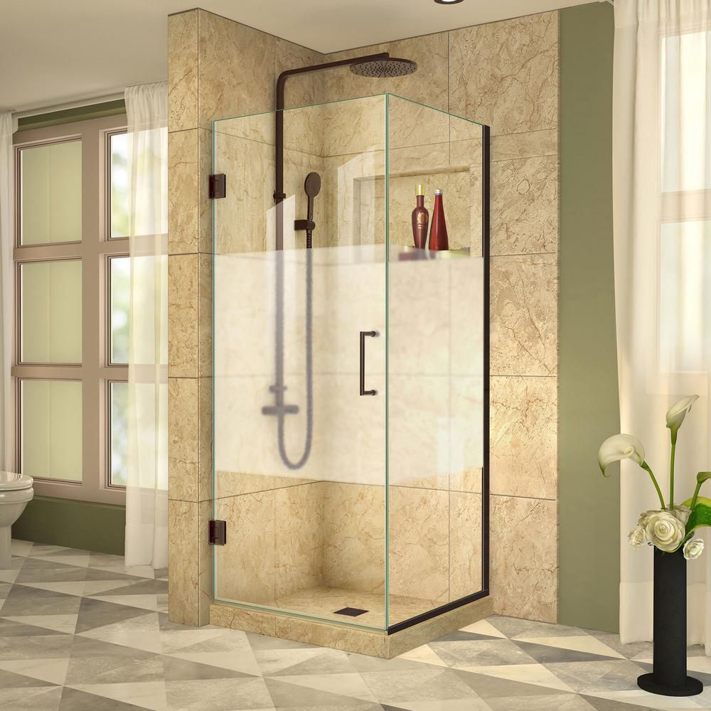 DreamLine Unidoor Plus 34-3/8x 34x 72 Semi-Frameless Hinged Shower Door Enclosure Half Frosted Glass Door in Oil Rubbed Bronze