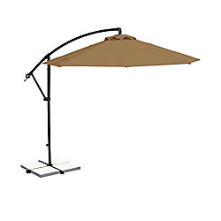Island Umbrella Santiago 10 ft. Octagonal Cantilever Patio Umbrella in Stone Olefin