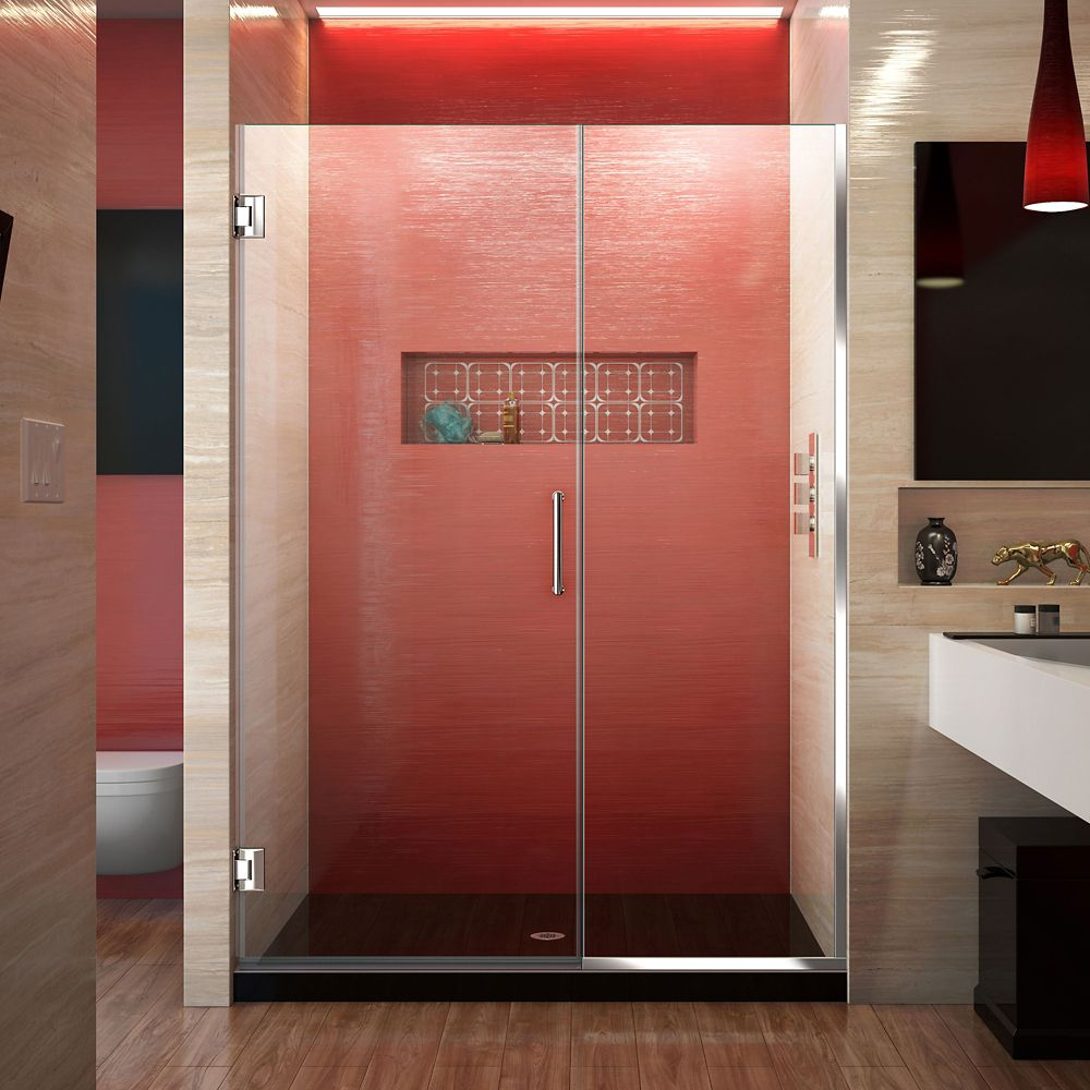 DreamLine Unidoor Plus 47-1/2 to 48-inch x 72-inch Semi-Frameless Pivot Shower Door with Hardware in Chrome with Handle