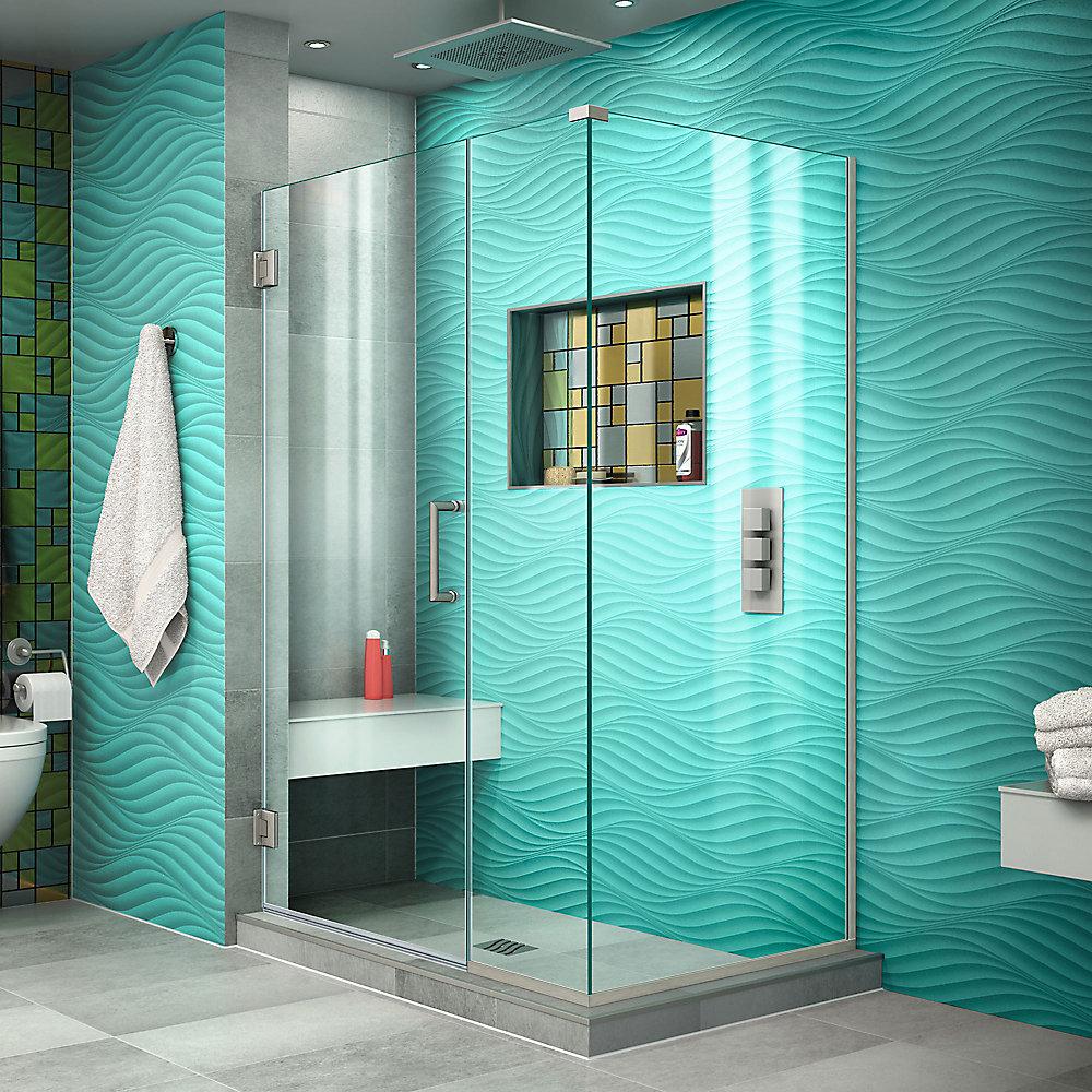 Unidoor Plus 43 1/2 inch W x 34 3/8 inch D x 72 inch H Shower Enclosure Brushed Nickel