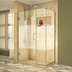 DreamLine Unidoor Plus 34-3/8-inch x 43-1/2-inch x 72-inch Hinged Shower Enclosure with Half Frosted Glass Door in Brushed Nickel