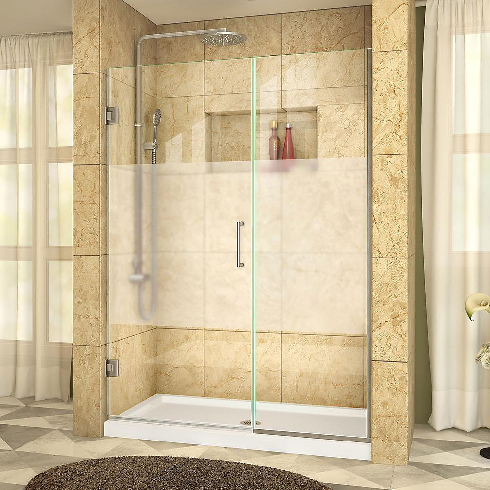 Unidoor Plus 49-1/2 to 50 x 72 Semi-Frameless Pivot Shower Door with Frosted Glass in Brushed Nickel with Handle