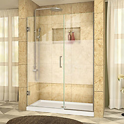 DreamLine Unidoor Plus 51 to 51-1/2 x 72 Semi-Frameless Pivot Shower Door with Frosted Glass in Brushed Nickel with Handle