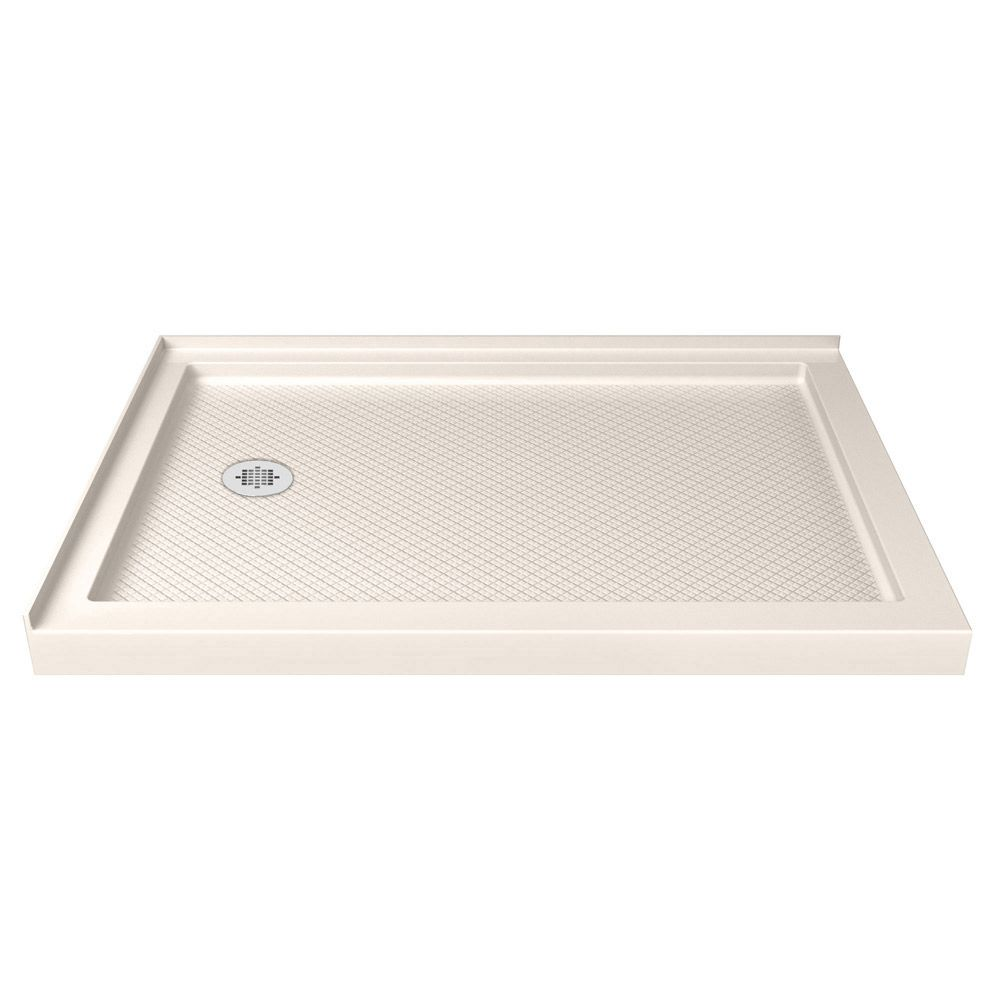 SlimLine 36-inch x 60-inch Double Threshold Shower Base in Biscuit with Left Drain