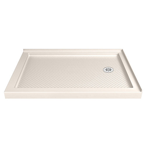 SlimLine 36-inch x 60-inch Double Threshold Shower Base in Biscuit with Right Drain