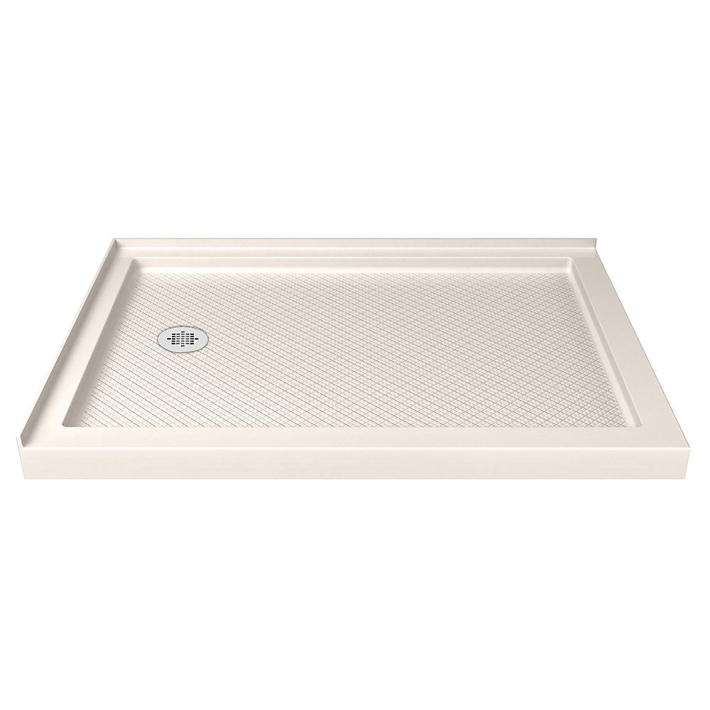 SlimLine 36-inch x 48-inch Double Threshold Shower Base in Biscuit with Left Hand Drain