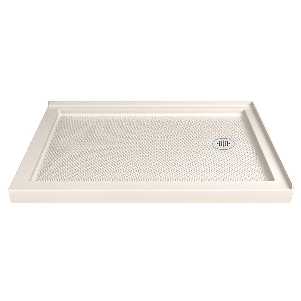 SlimLine 36-inch x 48-inch Double Threshold Shower Base in Biscuit with Right Hand Drain