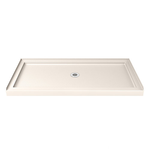 SlimLine 30-inch x 60-inch Single Threshold Shower Base in Biscuit with Center Drain