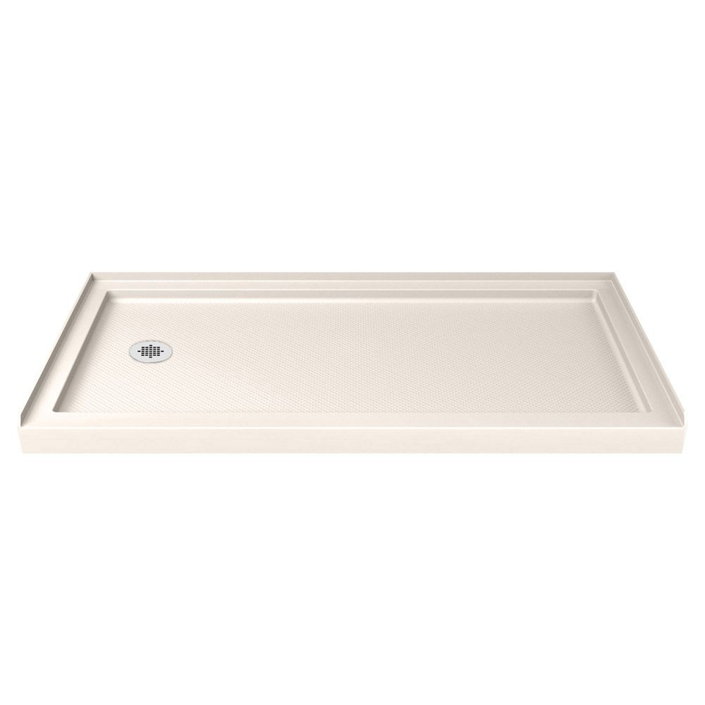 SlimLine 30-inch x 60-inch Single Threshold Shower Base in Biscuit with Left Hand Drain