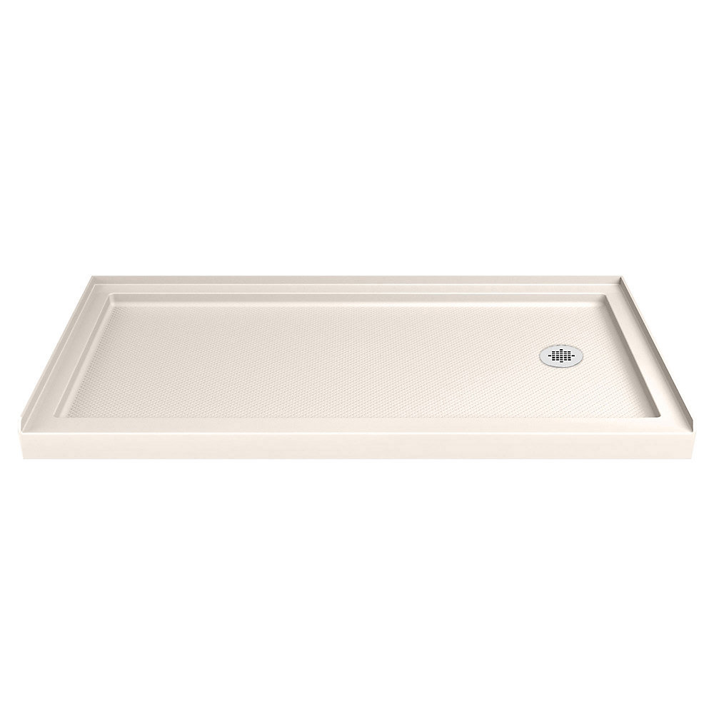 SlimLine 30-inch x 60-inch Single Threshold Shower Base in Biscuit with Right Hand Drain