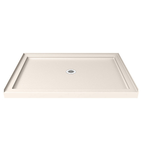 SlimLine 32-inch x 48-inch Single Threshold Shower Base in Biscuit with Center Drain Base