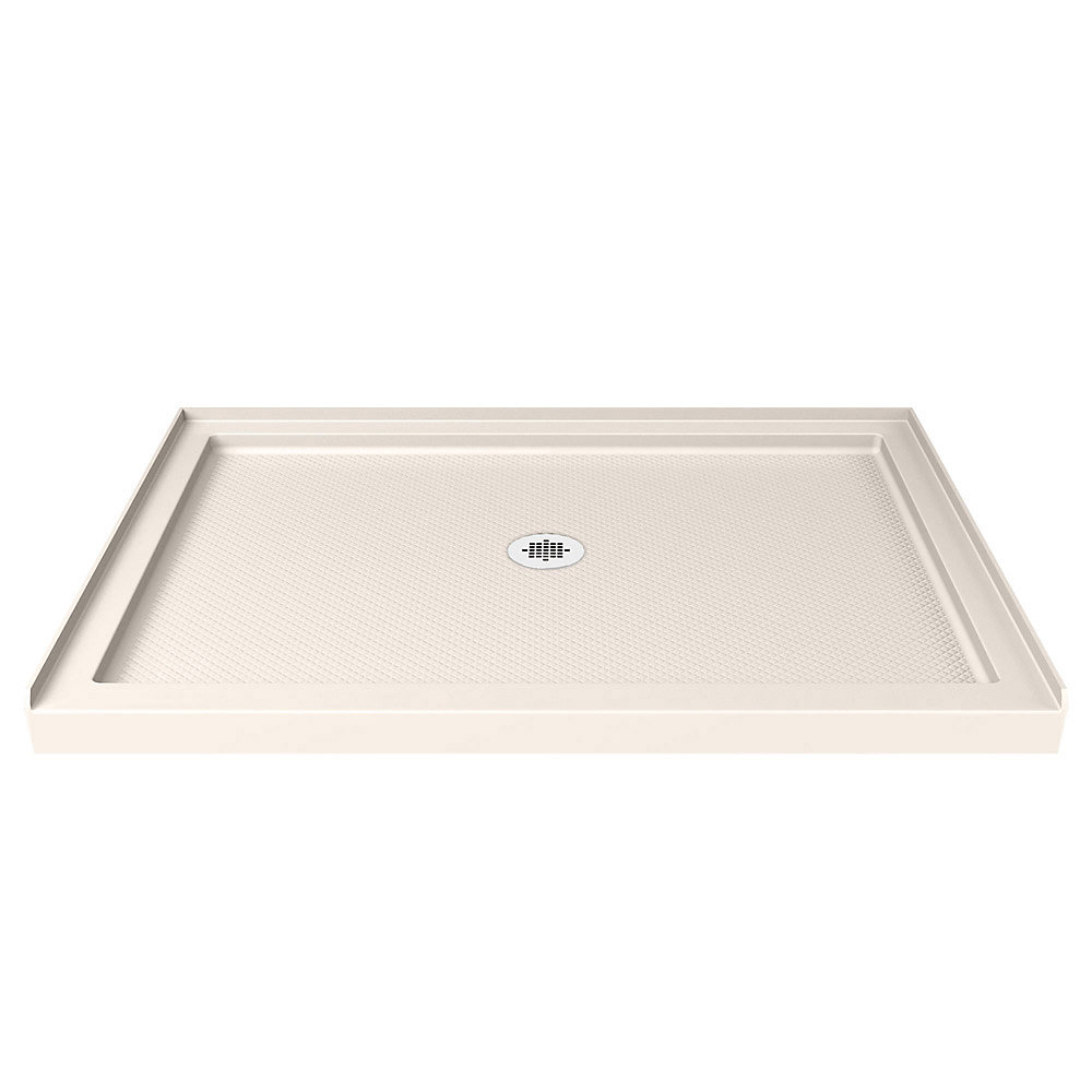 DreamLine SlimLine Base de douche 81 cm x 122 cm, Base avec drain central, Couleur Biscuit