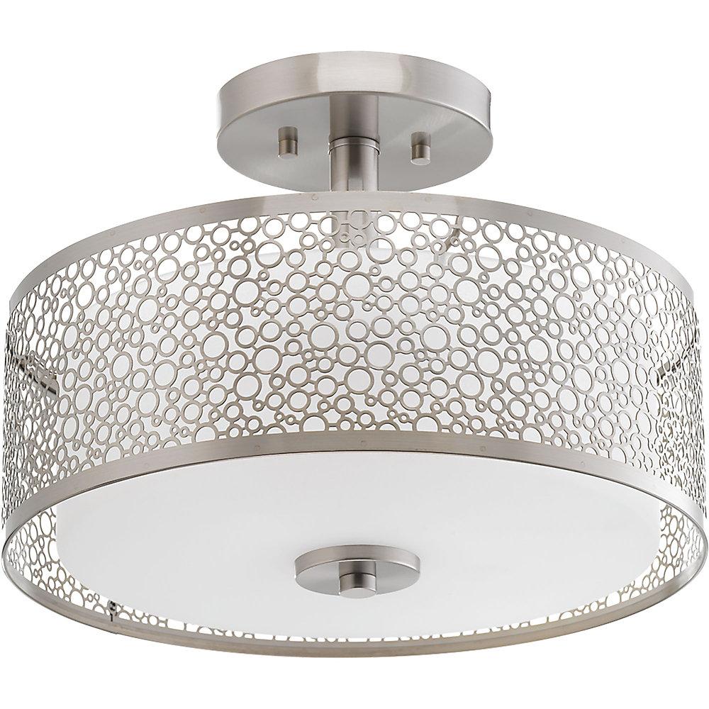 Collection Mingle – Semi-plafonnier à ampoule à DEL unique, nickel brossé