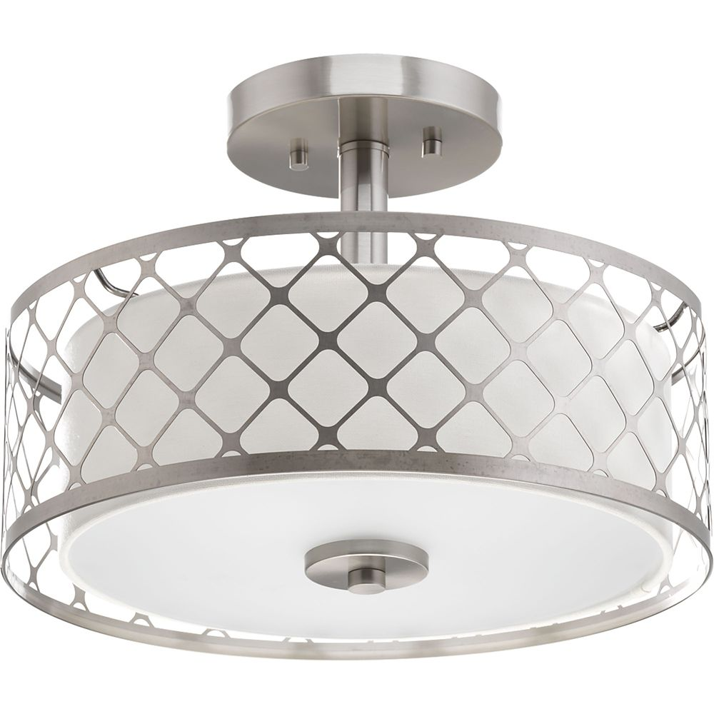 Home Decorators Collection Toberon Collection 1 Light Brushed Nickel Led Semi Flushmount The