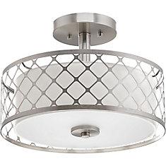 Mingle Collection 1-light Brushed Nickel LED Semi-Flushmount