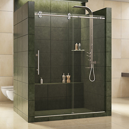 Enigma 56-inch to 60-inch x 79-inch Frameless Sliding Shower Door in Brushed Stainless Steel and 1/2-inch Exclusive Glass