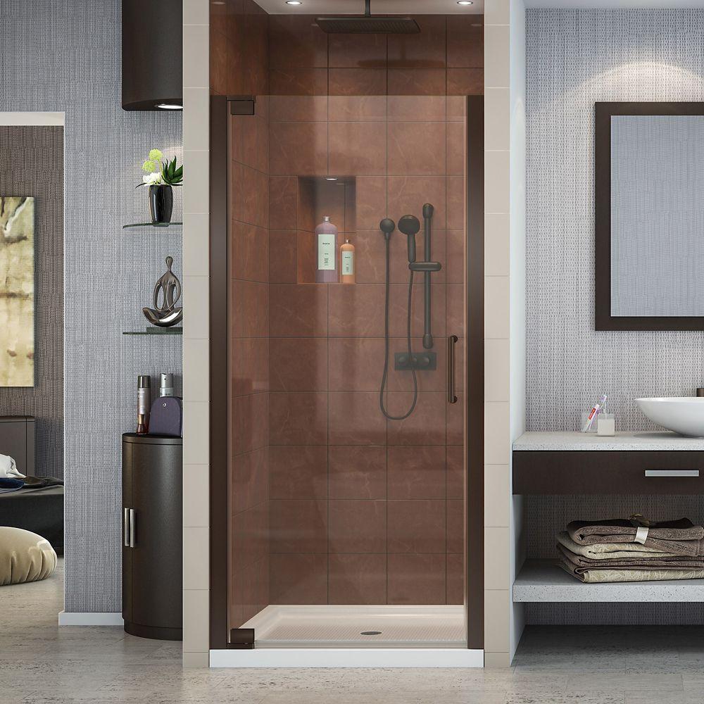 DreamLine Elegance 25-1/4-inch to 27-1/4-inch x 72-inch Semi-Frameless Pivot Shower Door in Oil Rubbed Bronze