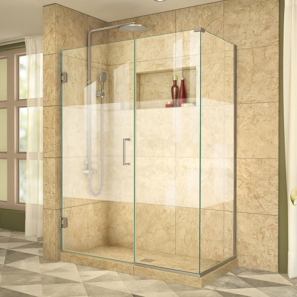 Unidoor Plus 34-3/8-inch x 46-inch x 72-inch Hinged Shower Enclosure with Half Frosted Glass Door in Brushed Nickel