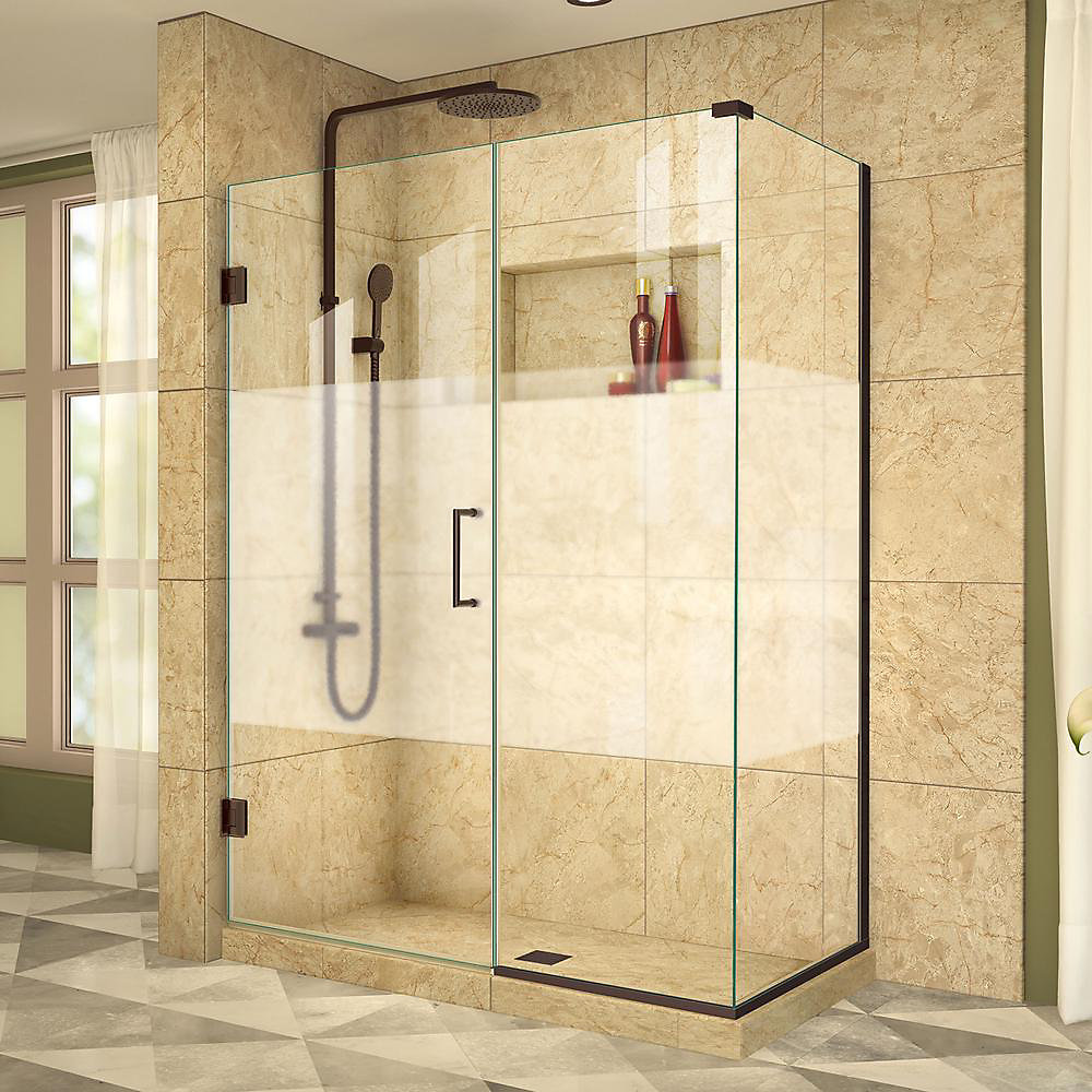 Unidoor Plus 34-3/8-inch x 49-inch x 72-inch Hinged Shower Enclosure with Half Frosted Glass Door in Oil Rubbed Bronze