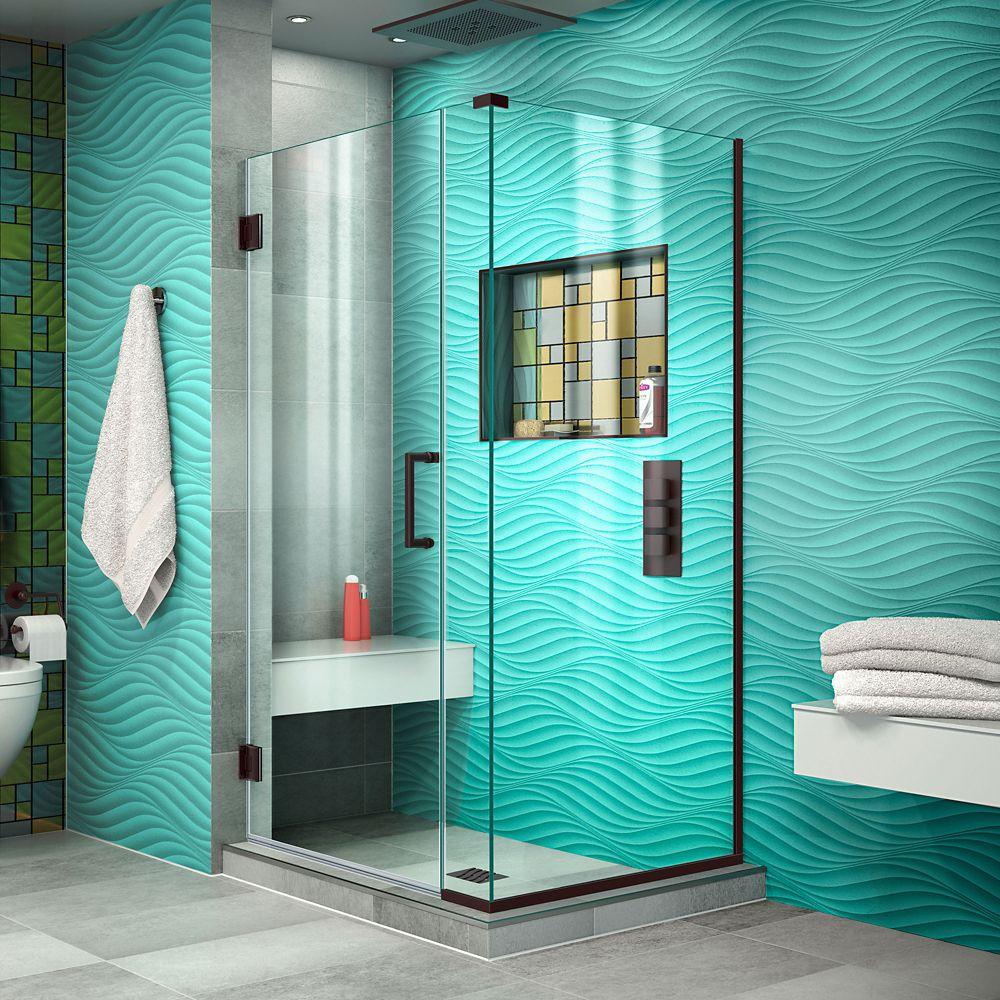 Unidoor Plus 30-3/8x 31x 72 Semi-Frameless Hinged Shower Door Enclosure with Hardware in Oil Rubbed Bronze