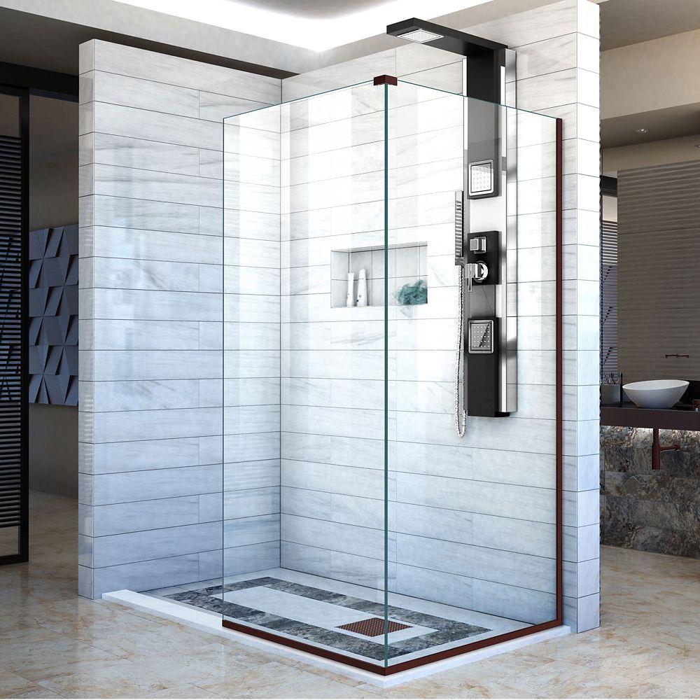 DreamLine Linea 30-inch x 72-inch Semi-Frameless Fixed Shower Door in Oil Rubbed Bronze