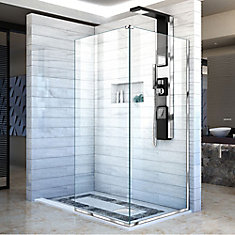 Linea 30-inch x 72-inch H Semi-Frameless Fixed Shower Door in Chrome