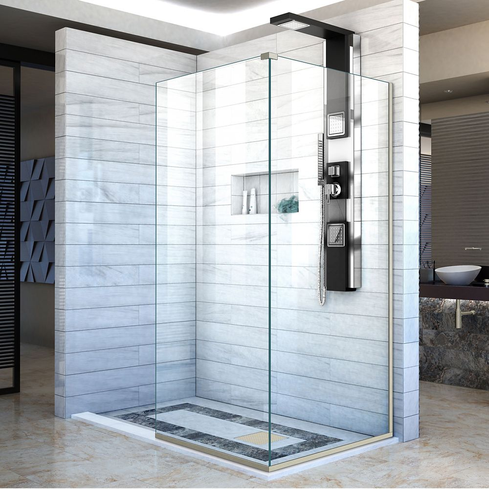 DreamLine Linea 34-inch x 72-inch and 30-inch x 72-inch Semi-Frameless Shower Door in Brushed Nickel