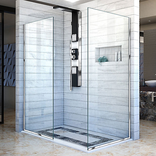 Linea 34-inch x 72-inch and 30-inch x 72-inch Semi-Frameless Shower Door in Chrome
