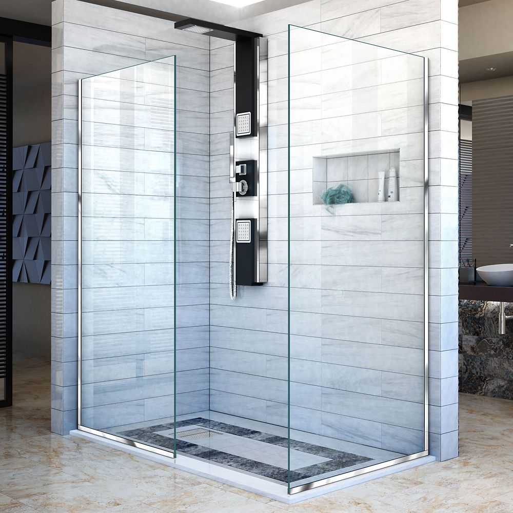 DreamLine Linea 30-inch x 72-inch and 34-inch x 72-inch Semi-Frameless Shower Door in Chrome