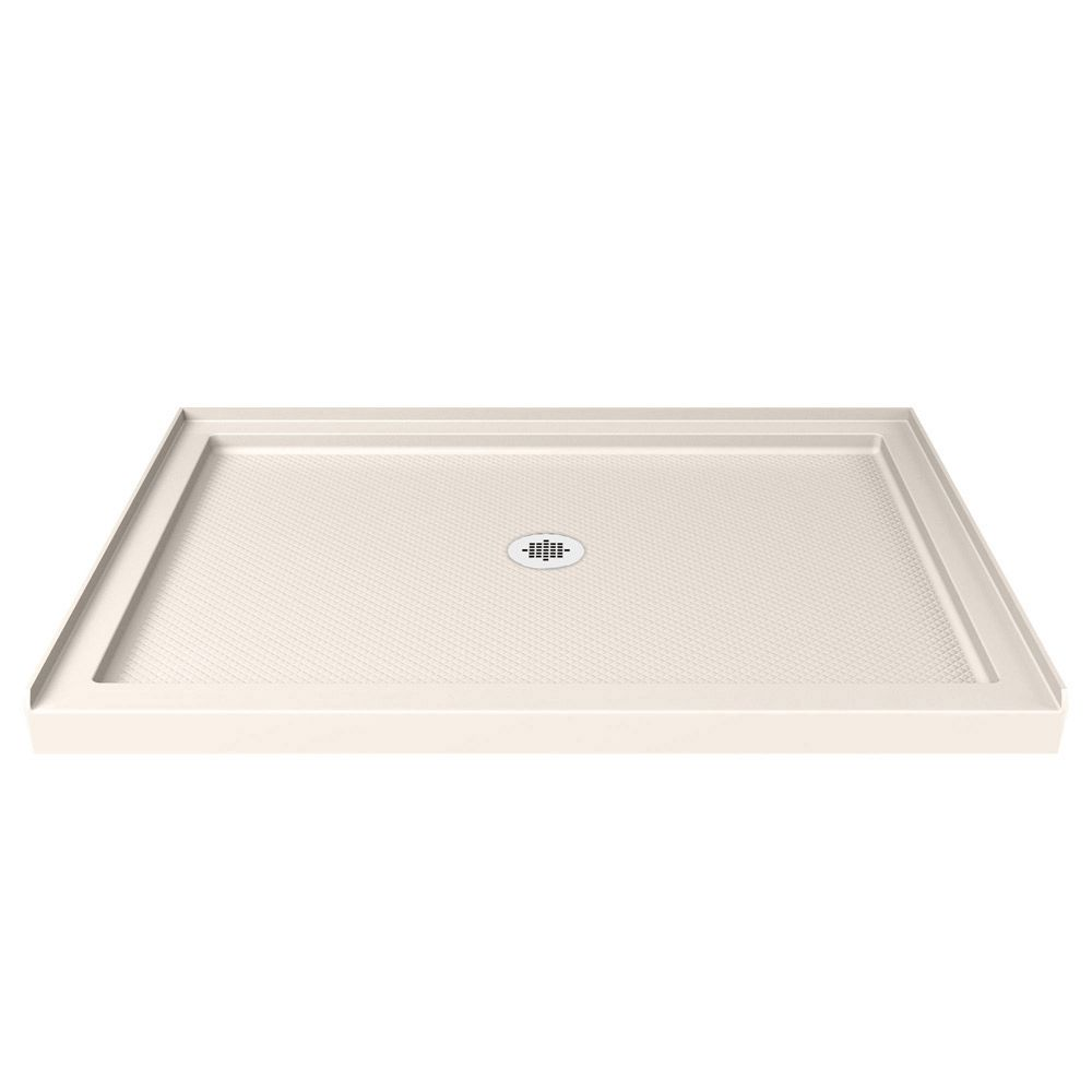 DreamLine SlimLine 34-inch x 60-inch Single Threshold Shower Base in Biscuit with Center Drain