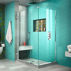 DreamLine Unidoor Plus 40-inch x 30-3/8-inch x 72-inch Semi-Frameless Hinged Shower Enclosure in Chrome