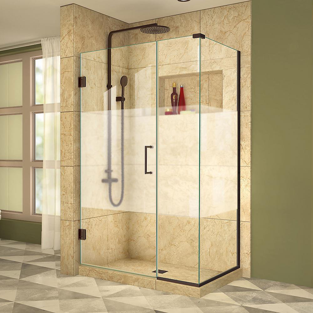 Unidoor Plus 34-3/8-inch x 40-1/2-inch x 72-inch Hinged Shower Enclosure with Half Frosted Glass Door in Oil Rubbed Bronze
