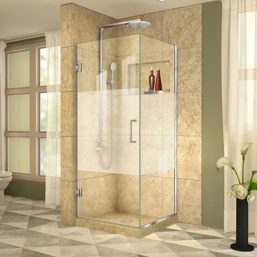 Unidoor Plus 34-3/8-inch x 31-1/2-inch x 72-inch Hinged Shower Enclosure with Half Frosted Glass Door in Chrome