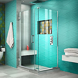 DreamLine Unidoor Plus 30-3/8-inch x 32-inch x 72-inch Hinged Shower Enclosure with Hardware in Chrome