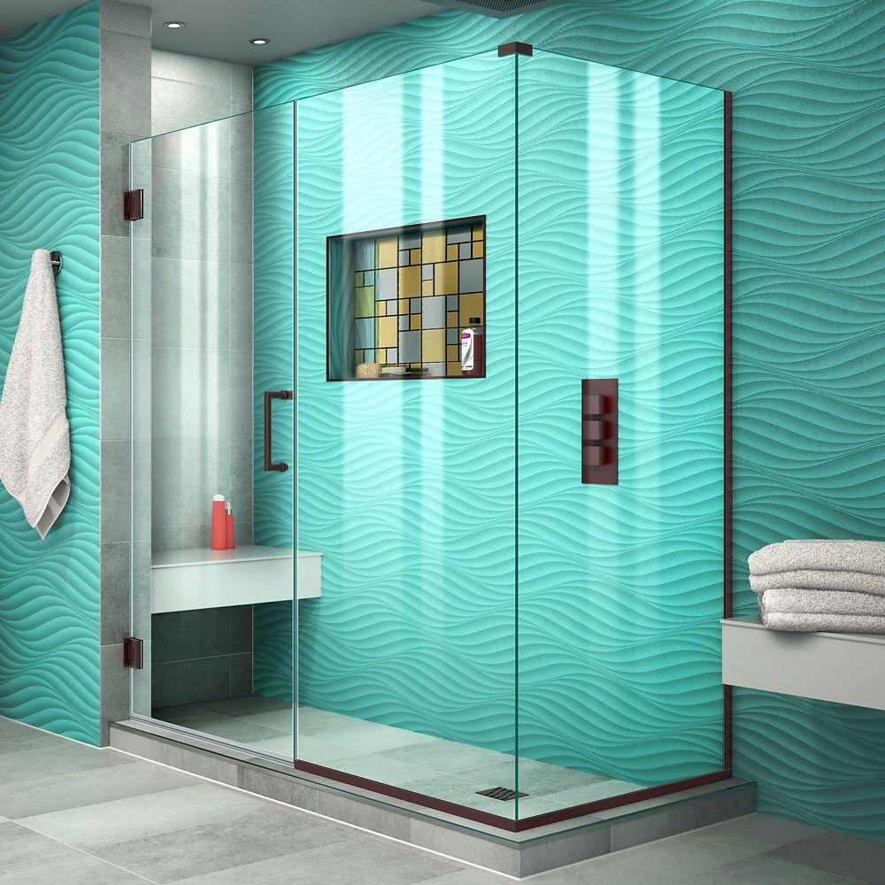 DreamLine Unidoor Plus 34-3/8-inch x 57-1/2-inch x 72-inch Semi-Frameless Hinged Shower Door Enclosure in Oil Rubbed Bronze