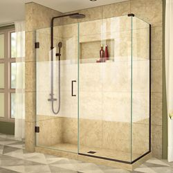 DreamLine Unidoor Plus 30-3/8-inch x 58-1/2-inch x 72-inch Hinge Shower Enclosure with Half Frosted Glass Door in Oil Rubbed Bronze