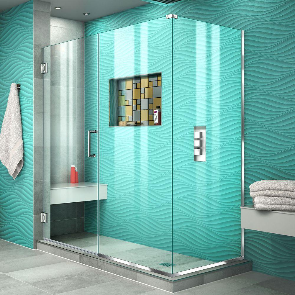 DreamLine Unidoor Plus 34-3/8-inch x 59-1/2-inch x 72-inch Semi-Frameless Hinged Shower Door Enclosure in Chrome