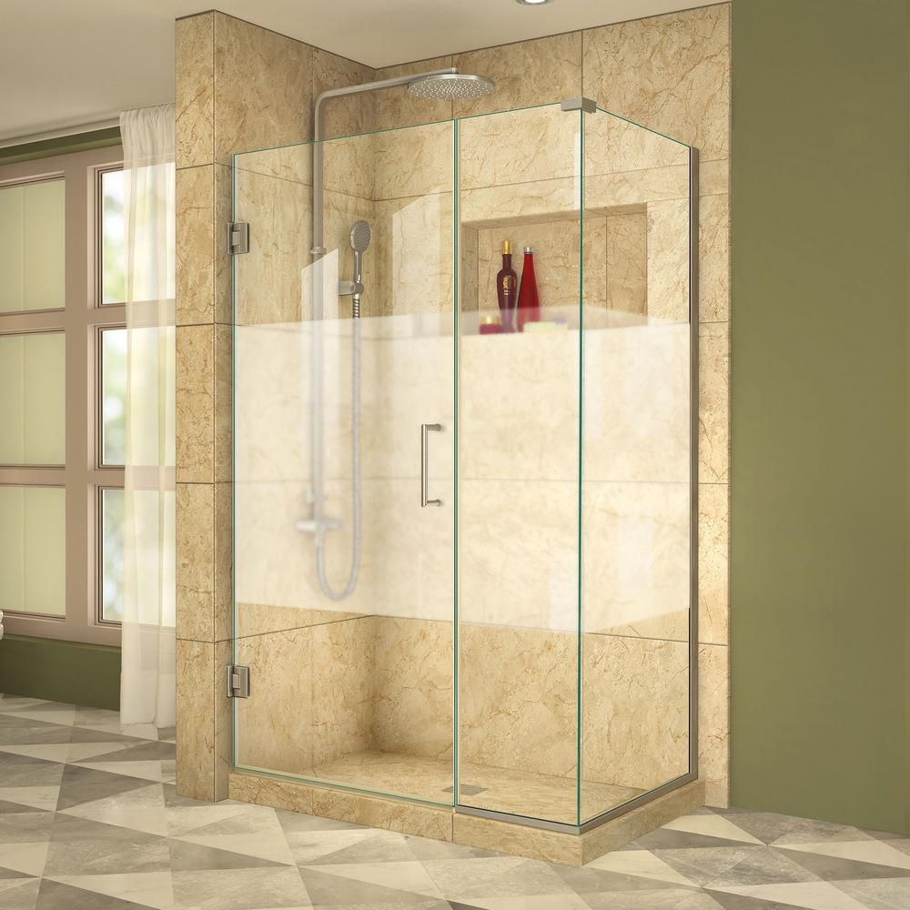 DreamLine Unidoor Plus 34-3/8x 38x 72 Semi-Frameless Hinged Shower Door Enclosure Half Frosted Glass Door in Brushed Nickel