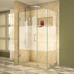 DreamLine Unidoor Plus 30-3/8x 38-1/2x 72 Semi-Frameless Hinged Shower Door Enclosure with Half Frosted Glass Door in Chrome