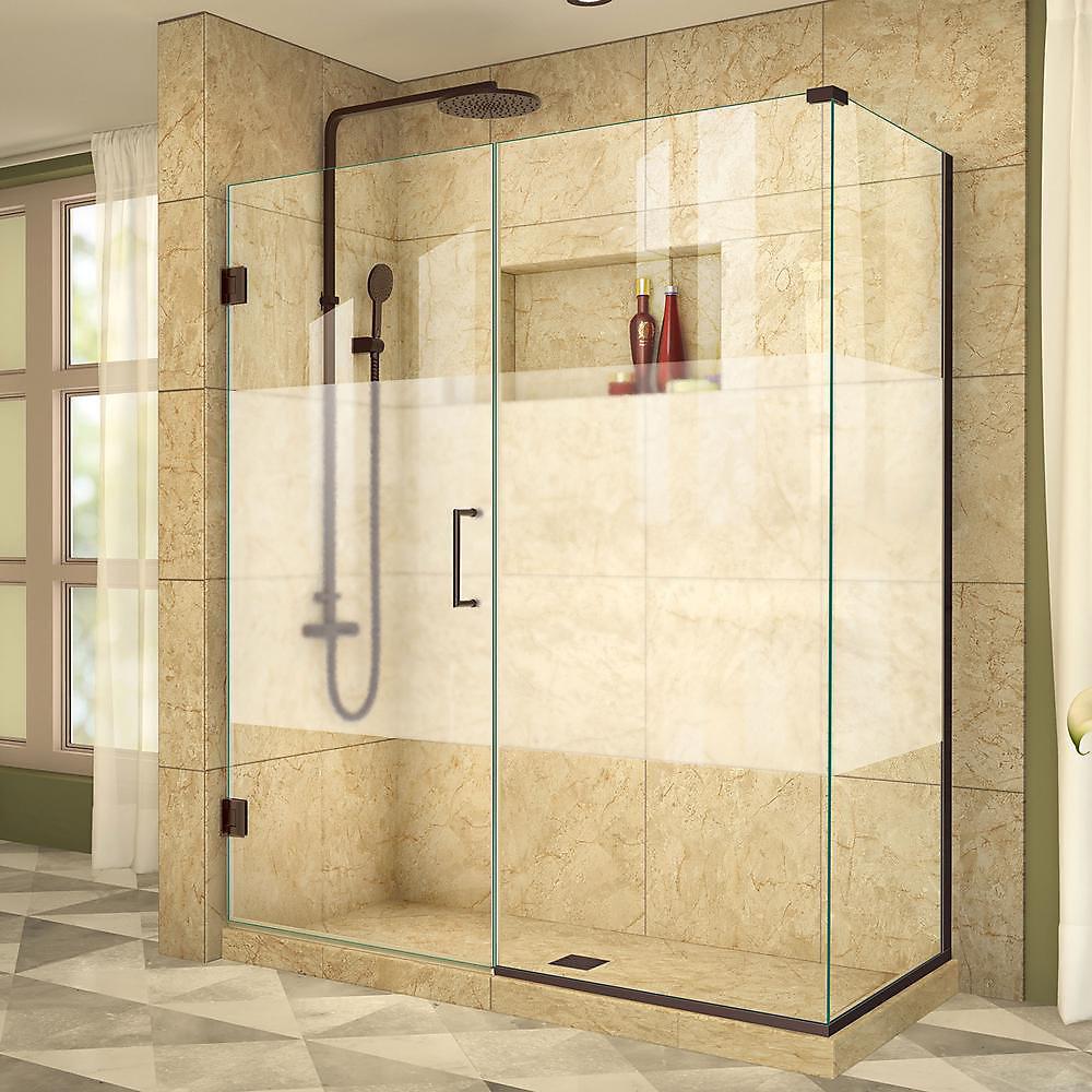 Unidoor Plus 34-3/8-inch x 56-1/2-inch x 72-inch Hinge Shower Enclosure with Half Frosted Glass Door in Oil Rubbed Bronze