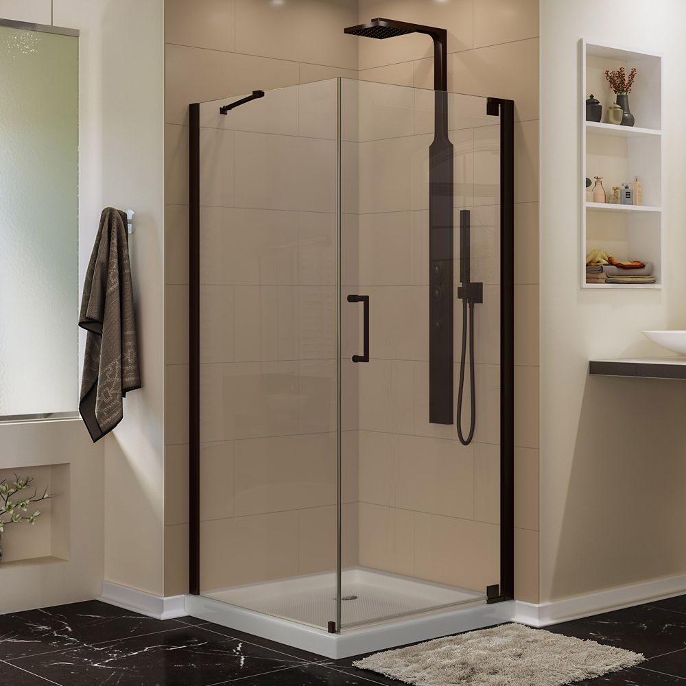 DreamLine Elegance 32-inch x 30-inch x 72-inch Semi-Frameless Pivot Shower Enclosure in Oil Rubbed Bronze