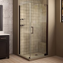 DreamLine Elegance 34-inch x 72-inch Semi-Frameless Corner Pivot Shower Enclosure in Oil Rubbed Bronze Finish with Handle
