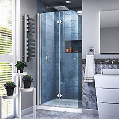 Aqua Fold 33.5-inch x 72-inch Semi-Frameless Hinged Shower Door in Chrome