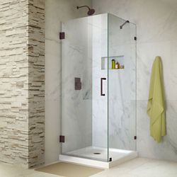 DreamLine Unidoor Lux 30-3/8-inch W x 30-inch D x 72-inch Frameless Hinged Shower Enclosure with Hardware in Oil Rubbed Bronze