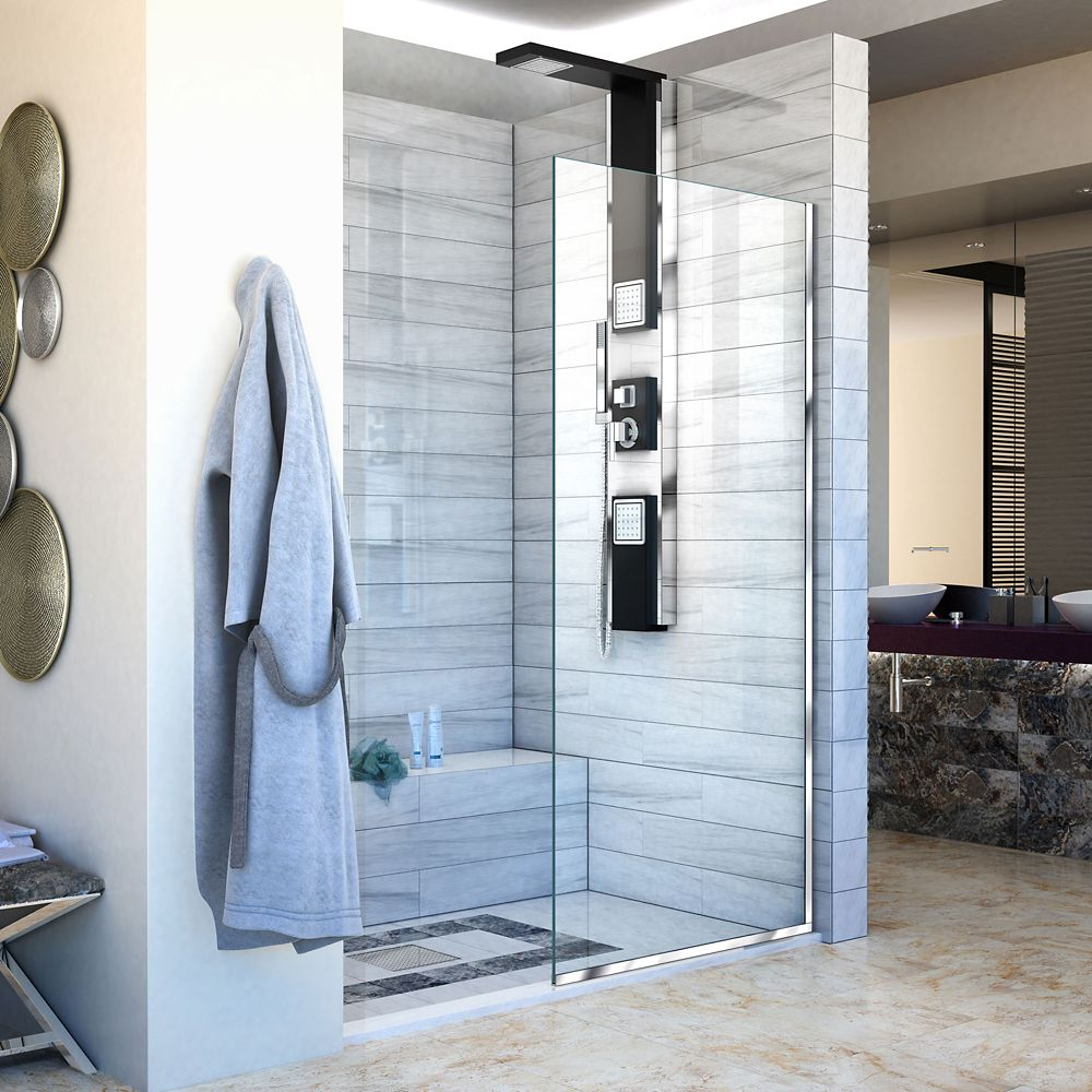 DreamLine Linea 30-inch x 72-inch Semi-Frameless Fixed Shower Door in Chrome