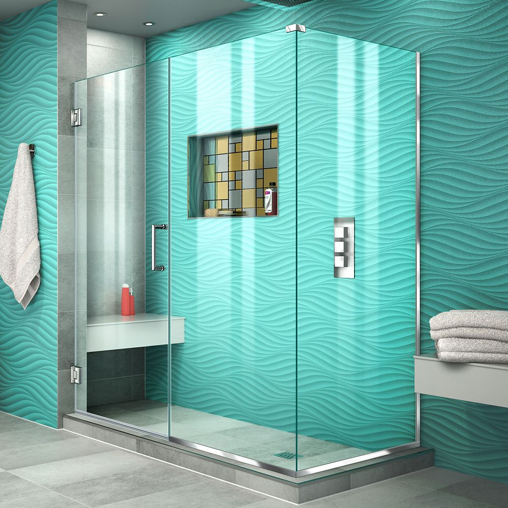 DreamLine Unidoor Plus 34-3/8-inch x 53-1/2-inch x 72-inch Hinged Shower Enclosure in Chrome